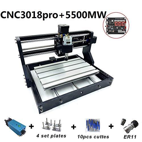 CNC 3018 Pro Fresadora CNC 3018 Pro Control de GRBL DIY Mini CNC Máquina de 3 ejes Mini DIY Madera Router CNC Máquina de grabado + ER11 + 5 mm Extensión Barra 5500MW Láser