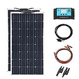 200w 12v Solar Panel Kit 2pcs 100W Flexible Solar Panels for RV, Boat