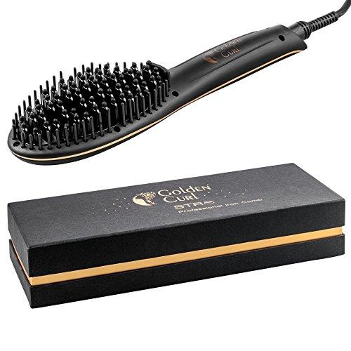 Golden Curl STR8 Haarglätter Bürste – außergewöhnliche 2-Jahres Garantie - Premium 2 in 1 Revolutionäre Keramik Oberfläche für Effektives Glätten ohne Schaden