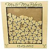 Flipmycover boda libro de visitas caja de 76 diseño de corazones de madera en forma de corazón drop adorno de aniversario de boda con texto en inglés y rústico diseño 40 x 40 cm