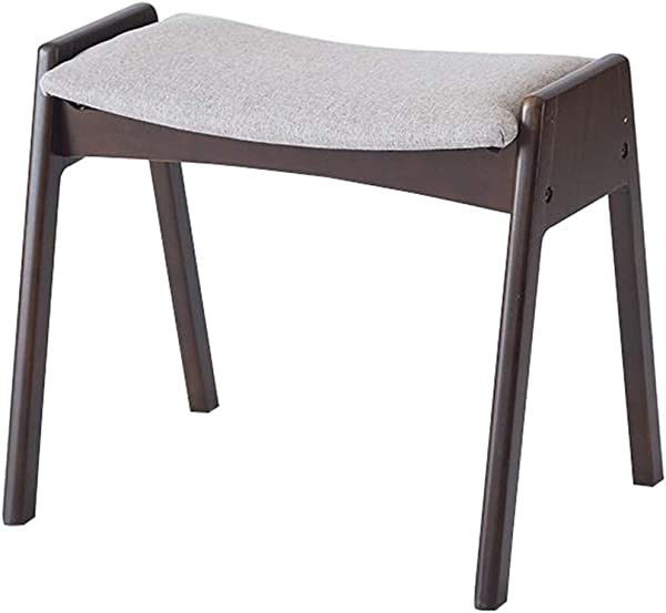 Fashion Designer Footstool Solid Wood Upholstered Ottoman Pouffe Footrest Wooden Dressing Stool Color Gray