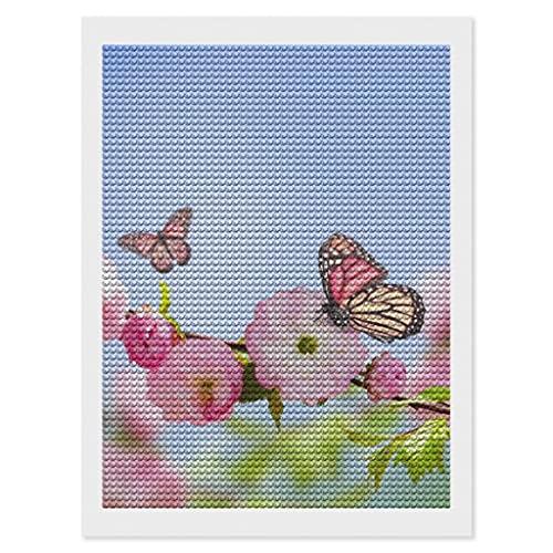 Greenieey Kits de pintura de diamantes de flores rosas para adultos y niños, DIY 5D redondo taladro completo arte por número, kit de decoración de pared de habitación blanco 30,5 x 40,6 cm