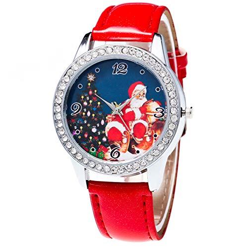 Huhuswwbin Orologio da polso analogico al quarzo con cinturino in pelle di strass quadrante con motivo di Natale - Rosso
