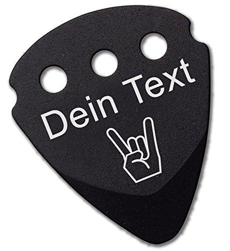 Plektrum | persönlicher Gravur von Text Namen und Symbolen | Dunlop Teckpick Aluminium Schwarz | Geschenk für Musiker und Gitarristen