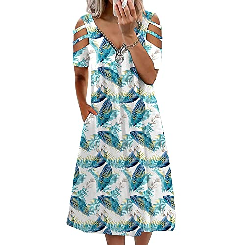 Pangki - Vestido de verano informal con cuello en V, sin mangas largas azul XL