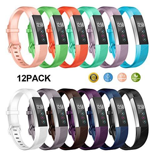Wekin Ersatz-Armband kompatibel für Fitbit Alta und Alta HR, Anpassungsarmband, Alta Hr Armband, weiches Silikon Sport Handgelenkbänder, 12 Se, Small(5.5