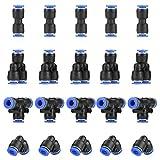 KINDPMA 40 Piezas Conexión Rápida Aire Conector Neumático Plástico Latón Conectores de Empuje Recto Accesorios Neumáticos Rectos para Industria farmacéutica PY6 PU6 PE6 PV6