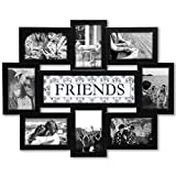 Jerry & Maggie - Photo Frame 22x17 Friends Theme Black Picture Frame Selfie Gallery Collage Wall Hanging for 6x4 Photo - 8 Photo Sockets - Wall Mounting Design