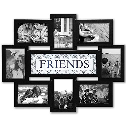 Jerry & Maggie - Photo Frame 22x17 Friends n Family Theme Black Picture Frame Selfie Gallery Collage Wall Hanging for 6x4 Photo - 8 Photo Sockets - Wall Mounting Design