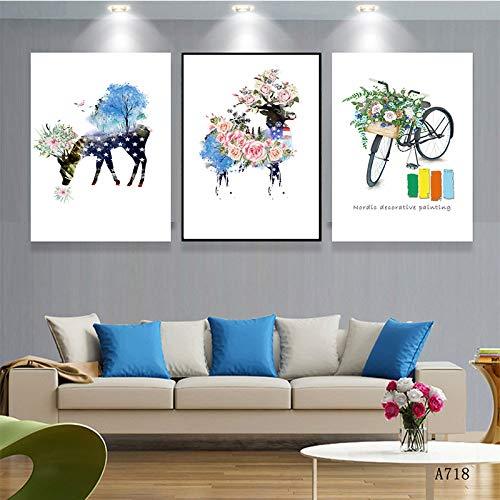 XIANRENGE Leinwanddrucke 3 Stück,Abstrakte Blume Rotwild Bike Poster Nordic Moderne Leinwand Wand Kunst Bild Pop Cover Für Wohnzimmer Schlafzimmer Haus Wand Dekor,50X70Cm Ungerahmt