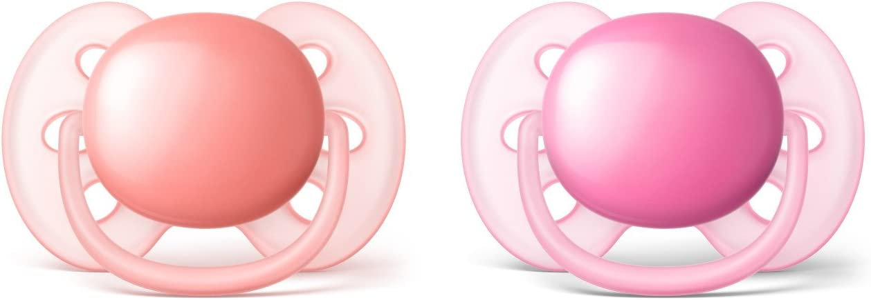 Philips Avent Ultra Soft Pacifier 2 pack SCF213//22 6-18 months Pink//Peach