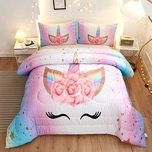 Namoxpa Unicorn Bedding 3 Piece Flower Girl Comforter Sets,Cartoon Unicorn Bedspreads Cute Comforter Sets for Teens and Girls,Queen Size