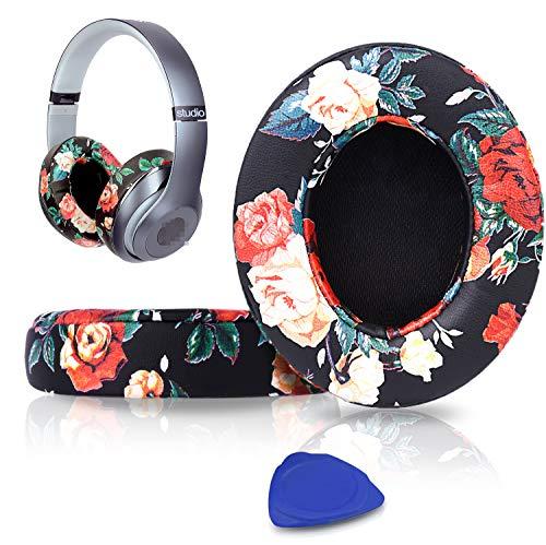 SoloWIT® Almohadillas de Repuesto para Beats Studio 3 y 2 Wireless Wired Auriculares Over-Ear, con Cuero de proteína Suave/Espuma de Memoria de Aislamiento de Ruido