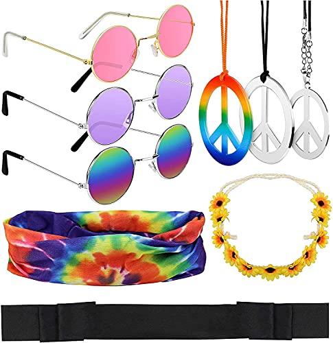Hysagtek 9 Stück Hippie Kostüm Set, Beinhaltet Runde Hippie Sonnenbrille, Verschiedene Peace Zeichen Halskette und Stirnband, Hippie Verband Zubehör