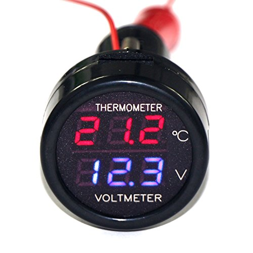 HOTSYSTEM KFZ Auto Digital LED Voltmeter & Thermometer 12V- 24V Spannungsanzeige -10 ~ 80 °c Thermometer Temperaturmessung Batterietester Rot+Blau