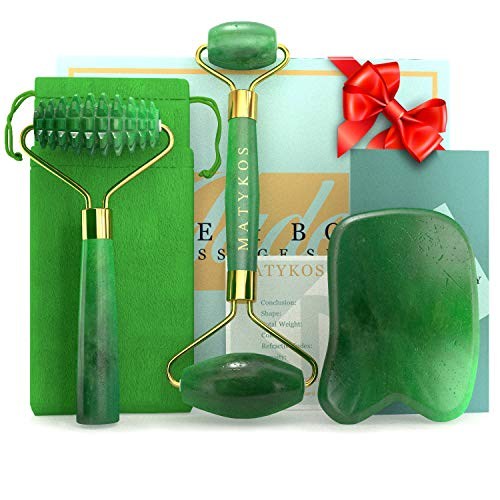 3 in 1 Jade Roller for Face and Gua Sha Set -...