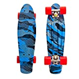 High Bounce Complete 22 Inch Skateboard for Kids of All Ages, Girls, Boys (Blue Camo)
