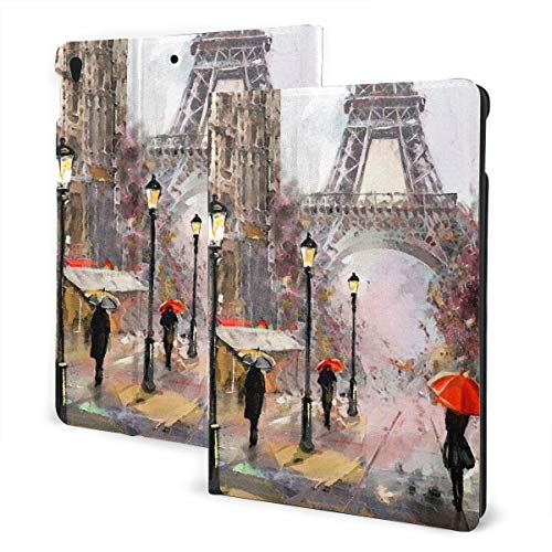 JIUCHUAN Colorful Ipad Case 2019 Ipad Air3/2017 Ipad Pro 10.5 Inch Case/2019 Ipad 7th 10.2 Inch Case Oil Painting On Canvas Street View Of Paris Ipad Case Protection Auto Wake/sleep