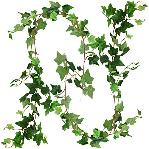 FiveSeasonStuff Hanging Ivy Garlands, Ivy Vine Leaves Artificial Garland Plant with Bendable Stems for Wedding Home Décor (2 Pcs, 11.4 Feet)