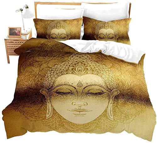 RTBDWOSI Asian Golden Buddha Statue Retro Pattern Duvet Cover Bedding Set King Size 220X240 cm for Single Double King Size Bed, 3D Printing Microfiber Duvet Set Quilt Case with Pillowcases,for Boys
