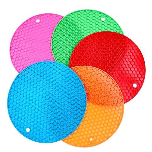 JZK 5 x Multicolor Redondo Salvamanteles de Silicona 19.5cm panal Salvamanteles de silicona para cuencos Plato Portavasos y cocina Manteles