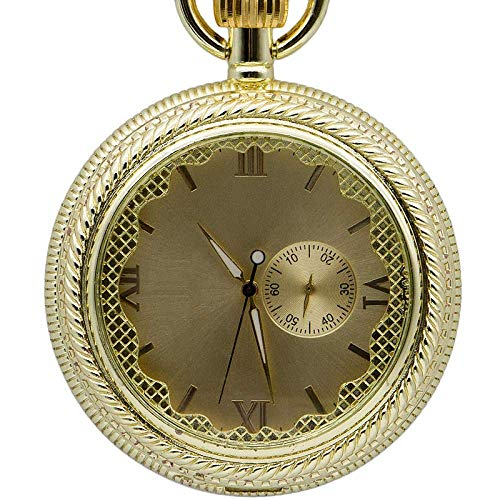 J-Love Relojes de Bolsillo mecánicos Vintage de Oro Completo, Reloj Masculino clásico, Caja Lisa, Relojes Colgantes, Regalo para Hombres