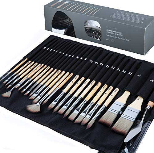 Artify 24 pcs paint brush set, expert series, enhanced synthetic brush...