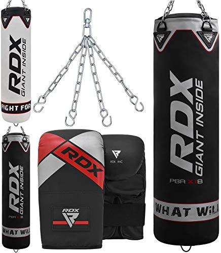 RDX Boxsack Set Gefüllt Kickboxen MMA Muay Thai Boxen mit Stahlkette Training Handschuhe Kampfsport Schwer Punchingsack