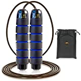 Skipping Rope Adult Women Men - Adjustable Steel Skipping Rope for Kids - Tangle Free Jump Rope - Non Slip Foam Handles & Rapid Ball Bearings - Perfect Speed Jumping Rope for Gym, HIIT & Weight Loss