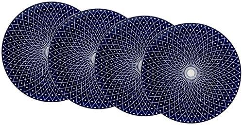 Ritzenhoff & Breker Speiseteller-Set Royal Reiko, 4-teilig, 26,5 cm Durchmesser, Porzellangeschirr, Blau-Weiß