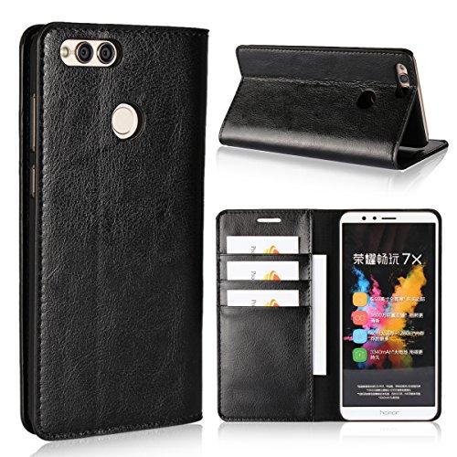 Preisvergleich Produktbild Honor 7X Hülle,  bdeals Flip Elegant Premium Echt Ledertasche Handyhülle Brieftasche Schutzhülle für Huawei Honor 7X Cover,  Schwarz