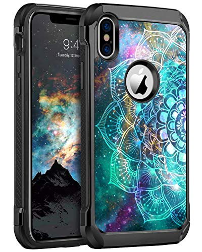 BENTOBEN iPhone X Case, iPhone Xs Case Slim Shockproof 2 in 1 Hard PC Soft Bumper Dual Layer Hybrid Luminous Noctilucent Protective Phone Cases Cover for iPhone X/XS 5.8 inch, Mandala in Galaxy