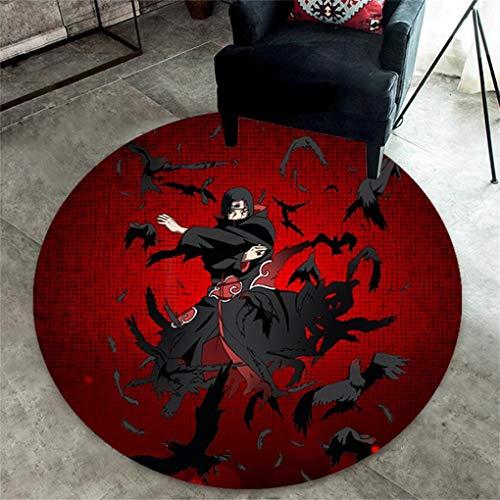 MBTGXX Runde Teppiche Naruto-Muster Wohnzimmer Schlafzimmer Multifunktion Kristallvlies Teppich Anime/Cartoon Yoga-Matte/Kinderzimmer-Teppich (100 x 100 cm)