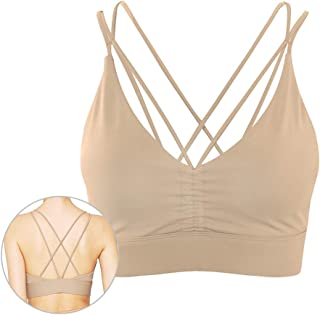 light & leaf Ruched Yoga Sports Bra Cross Back with Removable Cups Low Support Activewear