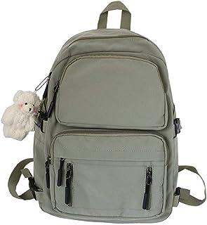 حقيبة ظهر Wujianzzhobbd، حقيبة كتب طالب المدرسة حقيبة سفر بنات حقيبة ظهر أزياء كورية معطف المطر للمراهقين (اللون: أخضر)