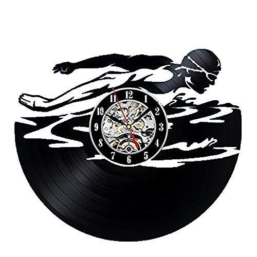 wtnhz LED-Reloj de Pared Digital diseño Moderno Tema de natación Reloj de Pared Gran Reloj de Pared Decorativo decoración del hogar Mudo 12 Pulgadas