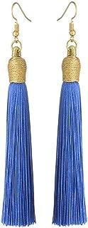 Boho Thread Long Tassel Dangle Drop Fringe Earrings Silk Fabric Vintage Charms Eardrop (Royal Blue)