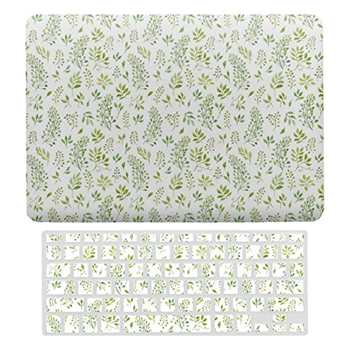 For MacBook New Pro 13 Touch 13 Inch Case Hard Shell Cover for MacBook New Pro 13 Touch Case & Keyboard Cover, Simple And Cute Green Leaves Watercolor Pattern Laptop Protective Shell Set