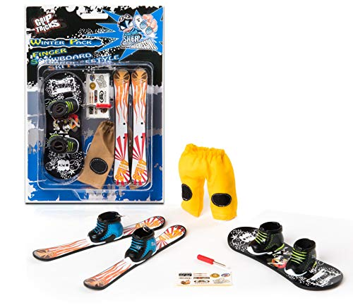 Grip & Tricks - Finger Snowboard Ski Freestyle - Pack1 Winter