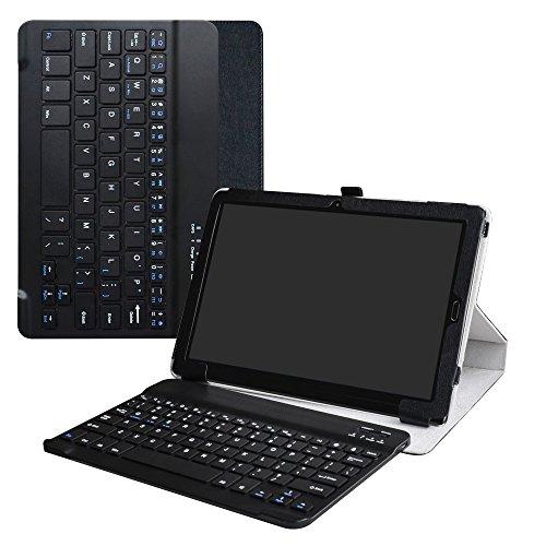 """MediaPad M5 10.8 Teclado Funda,LiuShan Detachable Wireless Bluetooth Teclado (Teclado QWERTY Formato inglés) PU Cuero con Soporte Caso para 10.8"""" Huawei MediaPad M5 10.8 / M5 Pro Tablet,Negro"""