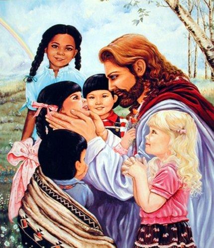 Wall Decor Jesus Christ with Children Religion & Spiritual Art Print Poster (16x20)