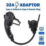 Morec Adaptador para Vehículo Eléctrico EV transforma su Cargador Tipo 1 a Tipo 2 32A, SAE J1772 a IEC 62196-2 …