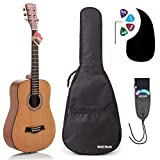 3/4 Size (36 Inch) Acoustic Guitar Bundle Junior/Travel Series by Hola! Music with Quality EXP16 Steel Strings, Padded Gig Bag, Guitar Strap and Picks, Model HG-36N, Natural Satin Finish