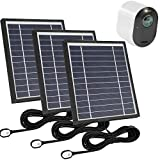 Uogw 3 Pack Solar Panel Charge for Arlo Pro 3 / Arlo Ultra/Ultra 2,with 11.5ft Waterproof Magnetic Power Cable, Adjustable Mount-Black