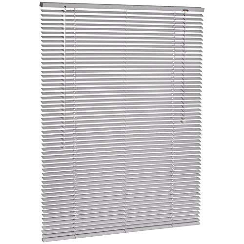 Amazon Basics - Persiana veneciana de aluminio, 100 x 130 cm, Plateado
