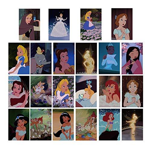 Disney princess stickers cartoon retro waterproof computer collage ipad hand account room decoration luggage stickers 22PCS