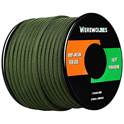 WEREWOLVES 700lb Paracord/Parachute Cord - Type III 7 Strand 100% Nylon Core and Shell 700 lb Tensile Strength (Army Green, 100 Feet)