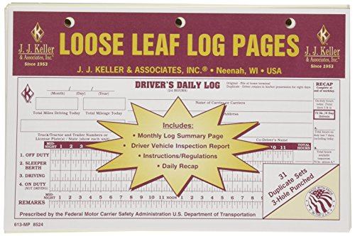 J.J. Keller 8524 Loose Leaf Driver's Daily Log Sheet with DVIR