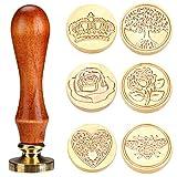 Aiboria Set di timbri per ceralacca in rame, 6 pezzi, con manico in legno, stile vintage, ...