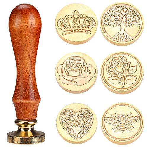 Aiboria, set di 6 timbri in cera per sigilli in rame, con manico in legno, stile vintage, classico, con confezione regalo